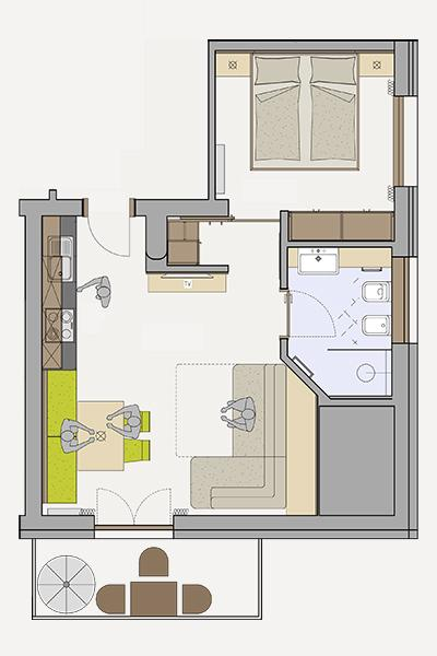 Floor plan of the apartment 4