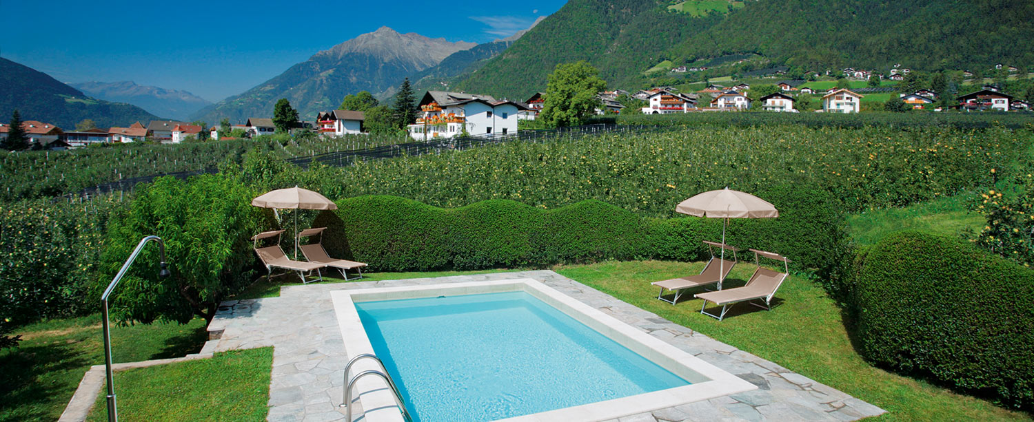 outdoor swimming pool at the Schlettererhof in Tirolo